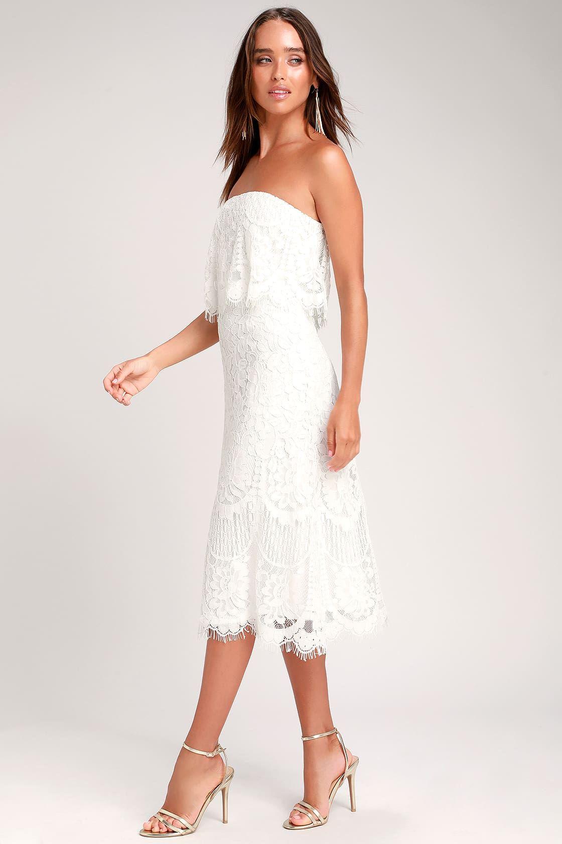 Delia White Lace Strapless Midi Dress Little White Dresses Long White Dress Strapless Midi Dress [ 1680 x 1120 Pixel ]