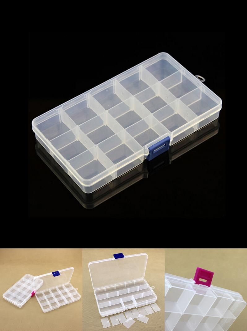 [Visit to Buy] Storage Tools Adjustable Plastics 15 Lattice PVC Storage Box Case Jewelry Bead Tiny Stuff Container High Quality #Advertisement