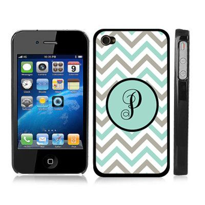 Initial P - Chevron Zig Zag Turquoise Striped Monogram Snap-On Cover Carrying Case for iPhone 4/4S on Etsy, $9.99
