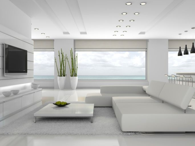 Fabulous All White Modern Living Room With Spectacular View And Large Screen Tv Living Room Modern Living Room White Modern White Living Room