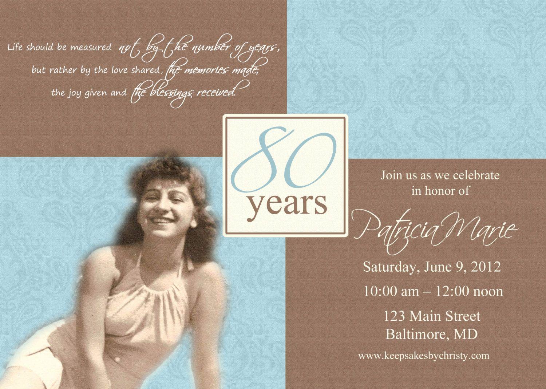 Custom Birthday Invitation... 30th, 40th, 50th, 60th, 70th, 75th ...
