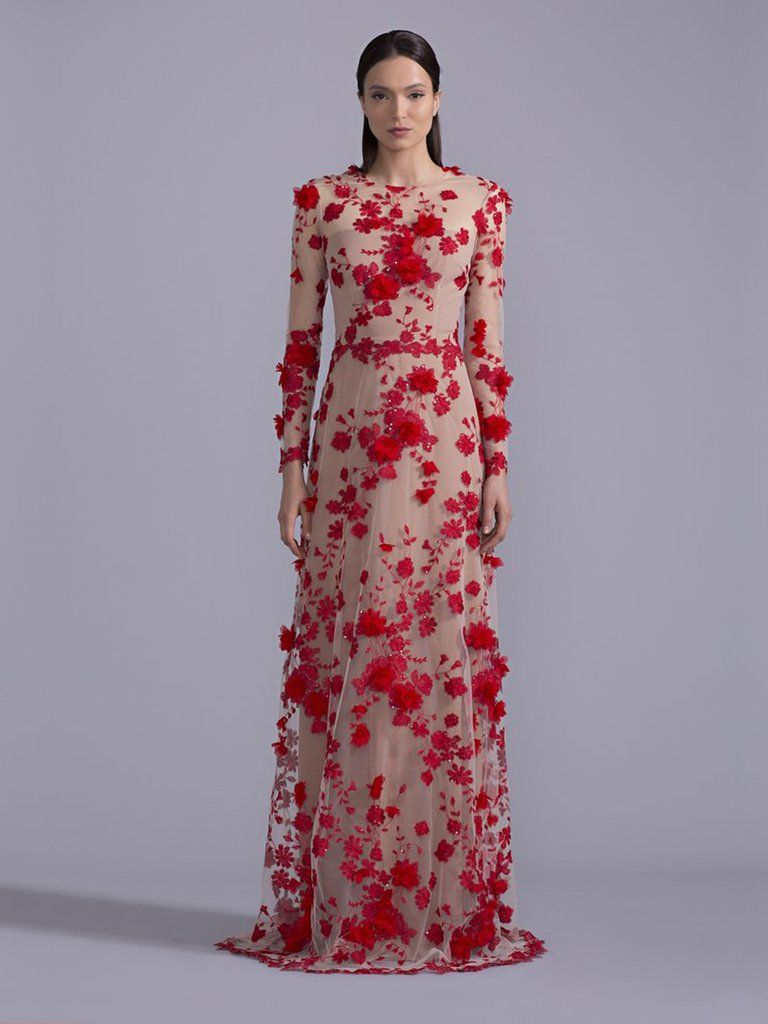 Full Sleeved Floral Gown | David meister, Gowns and Floral
