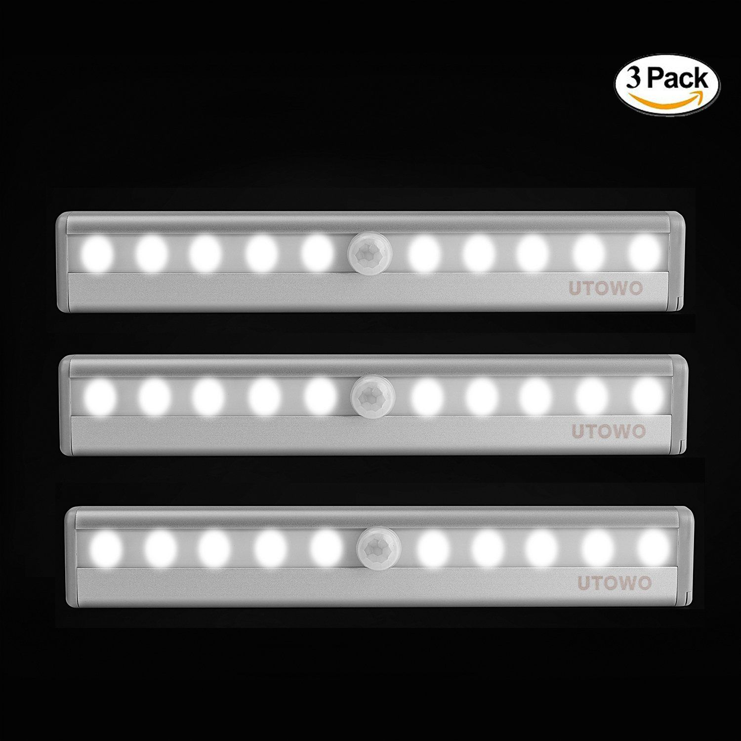 closet lighting battery. 3 Pack Motion Sensor Closet Lights Portable Wireless Under Cabinet Battery Operated For Kitchen Desk Room Bar With Magnetic Strip Stick-on Anywhere Lighting