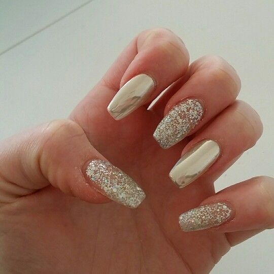 Chrome And Glitter Nails Acrylics Coffin White