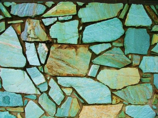 Beautiful turquoise stone wall