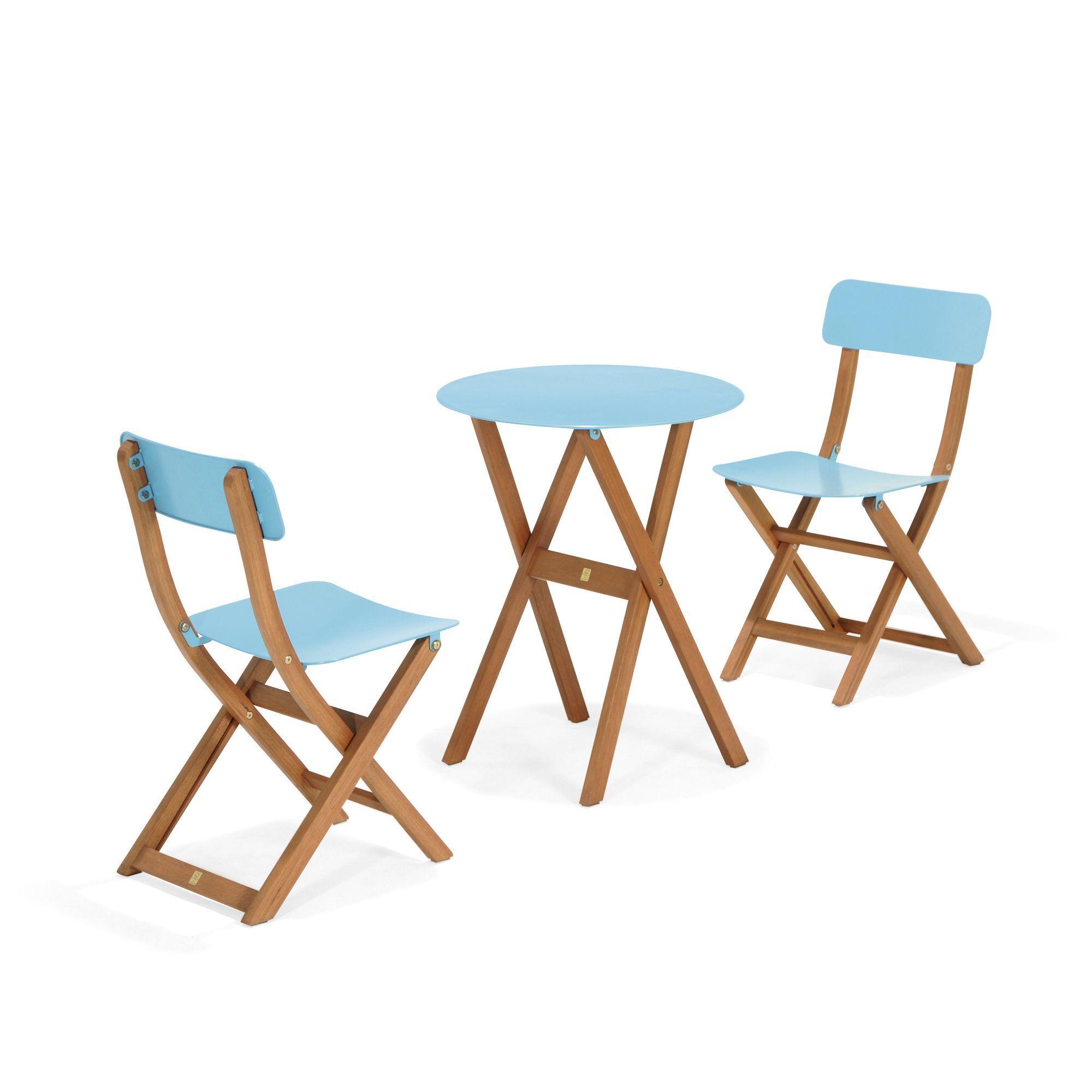 Ensemble 2 chaises et 1 table de jardin bleu - Urban out - PROMOS du ...