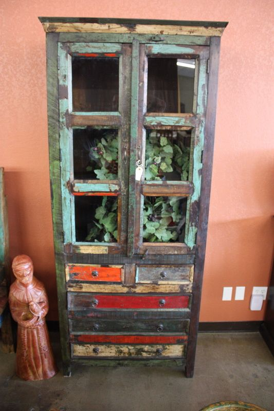 Reclaimed Teak Armoire With Glass Doors And Lower Drawers