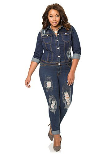 56ecbd6c5b6 Fashion Bug Women s Plus Size Destructed  Sequin  Denim Jean www.fashionbug.us   PlusSize  FashionBug  Jeans