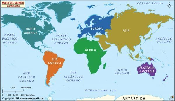 Todos Los Continentes Y Oceanos Con Mapa Y Esquemas