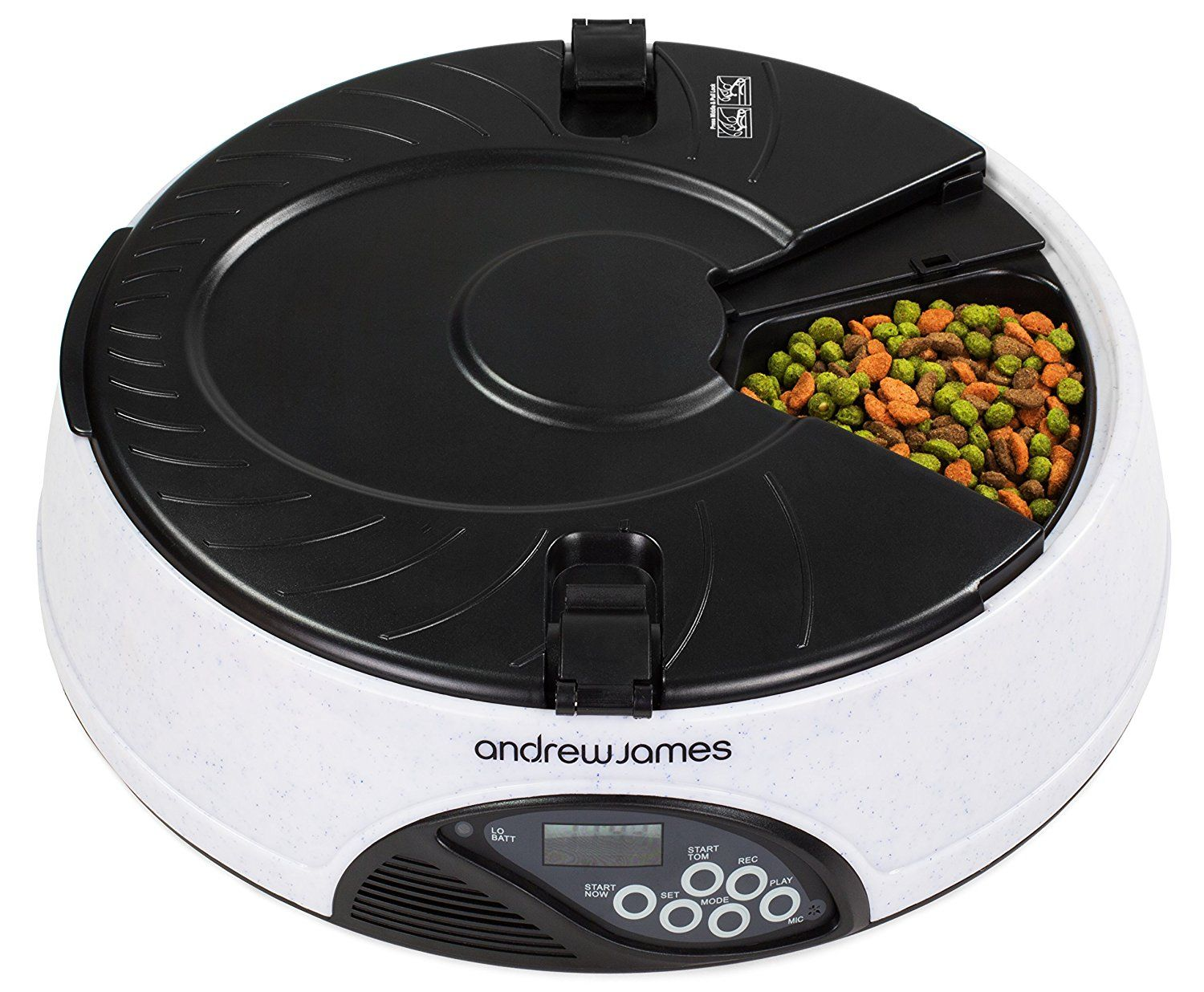 Andrew James 6 Day Meal Automatic Pet Feeder Bowl With Voice Recorder