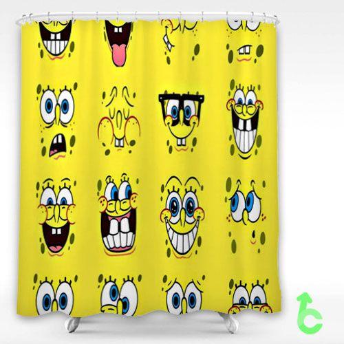 Cheap Cartoon Spongebob Smile Face Shower Curtain | Bathroom bath ...