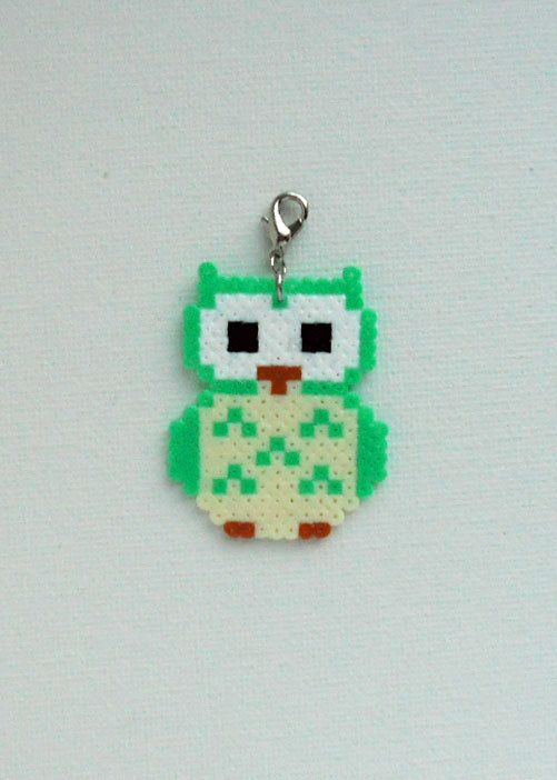 Hama mini unique Owl pendant charm by Alsterbead on Etsy | Projects ...