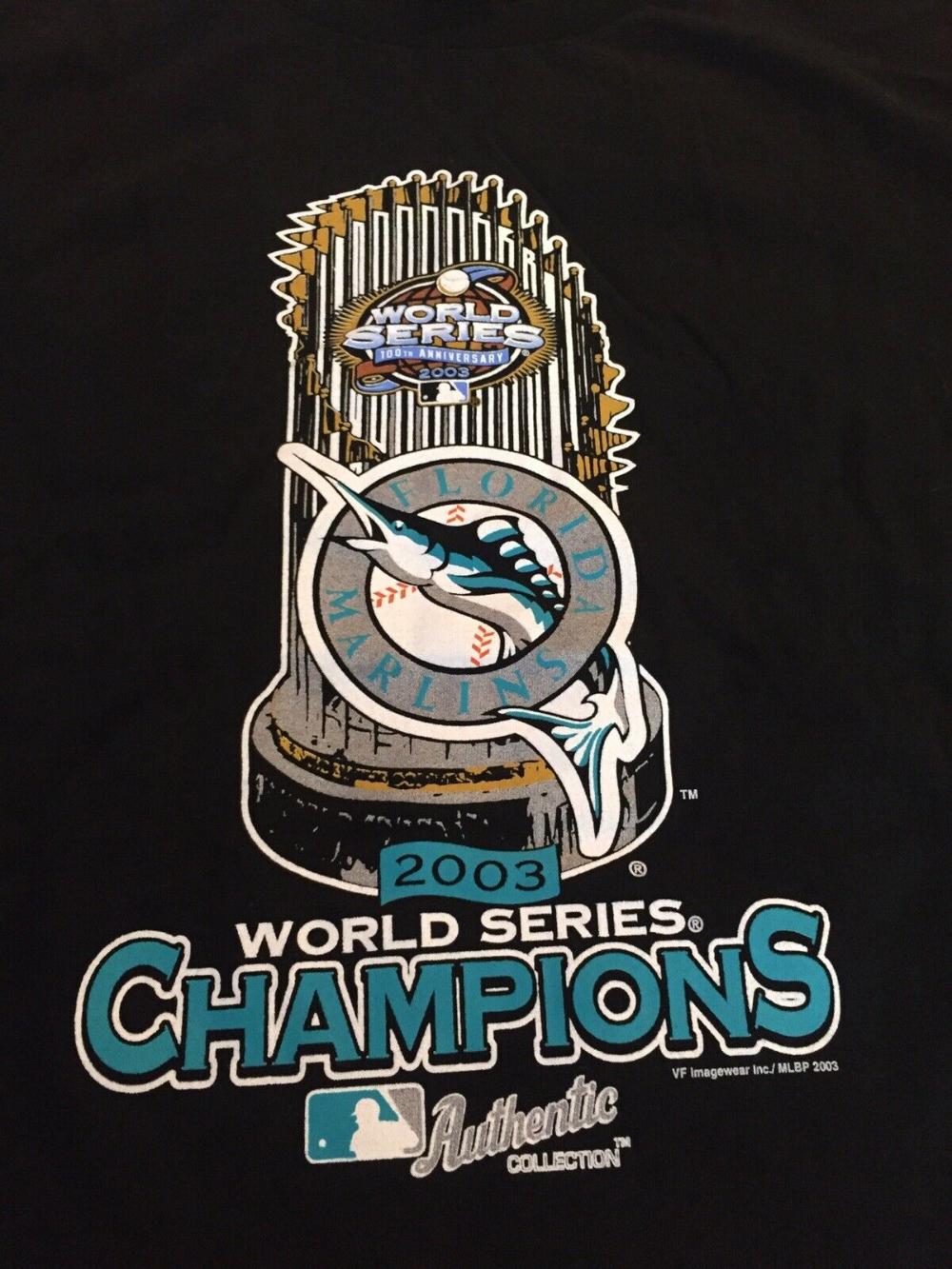 Vintage 2003 Florida Marlins World Series Champions T Shirt Men S Medium Mlb Ebay Mens Shirts World Series Mens Tshirts