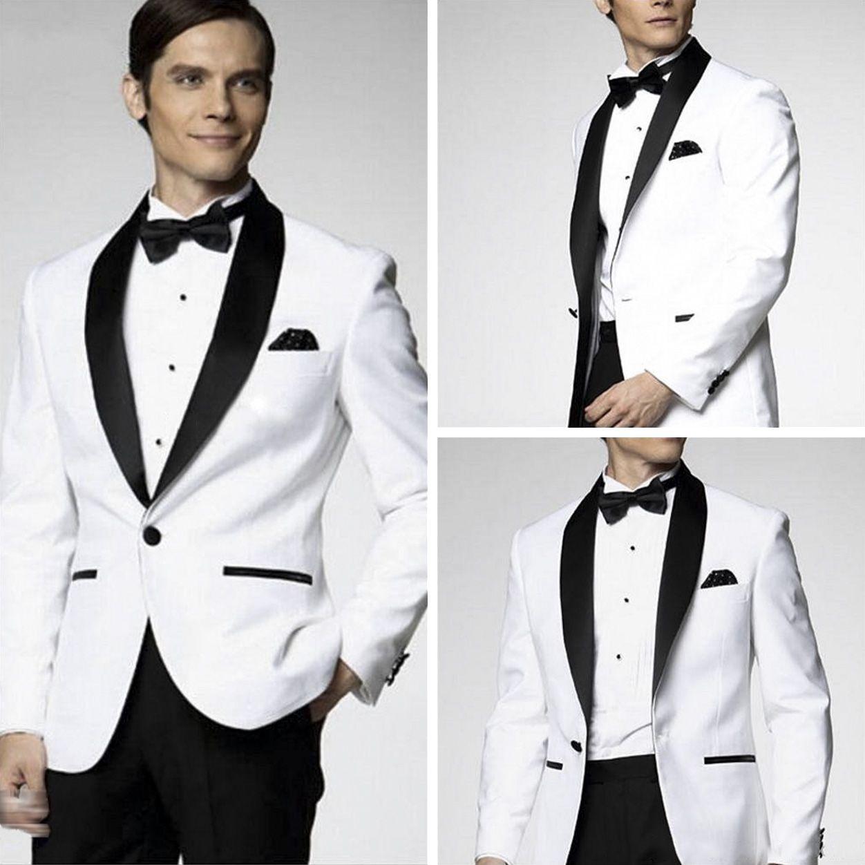 New Arrival White Tuxedo Dinner Suit Jacket Black Shawl
