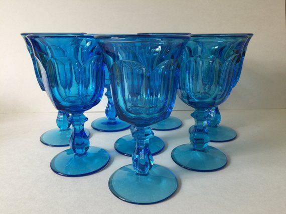 Glass Goblets Azure Blue Pressed, Vintage Blue Glassware