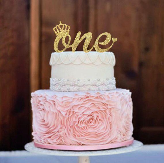 Cake Topper One Cake Topper First Birthday Cake Topper Glitter