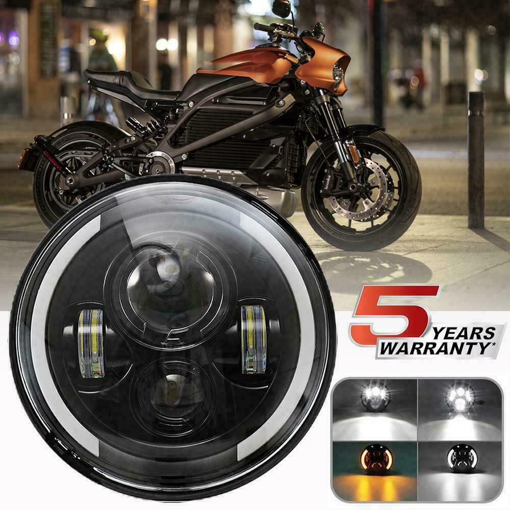 7 Inch Led Headlight Projector Halo Motorcycle For Harley Dyna Cafe Racer Bobber With Images Harley Dyna Softail Harley