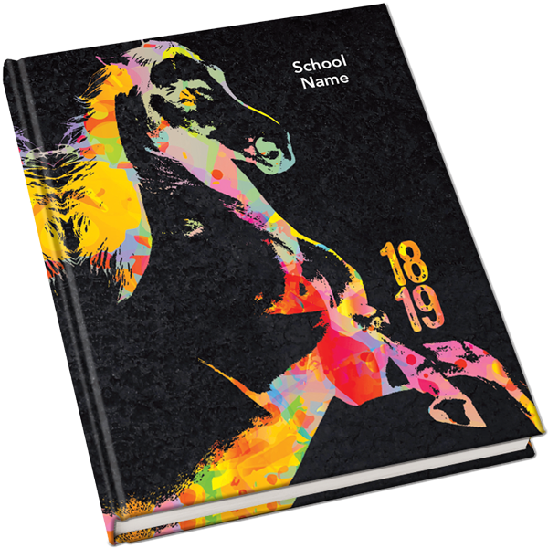 2018 2019 Yearbook Covers Mustang W Color Yearbook Themes Yearbook Covers Yearbook Covers Design