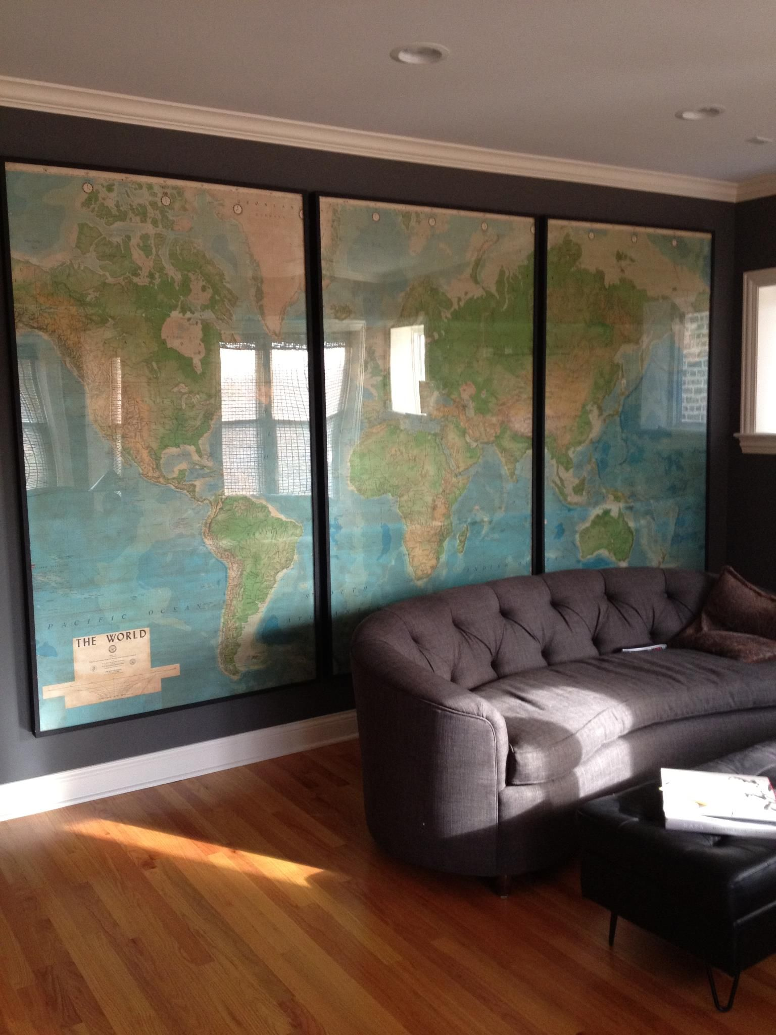 One whole wall in this womans living room is devoted to this most modern of