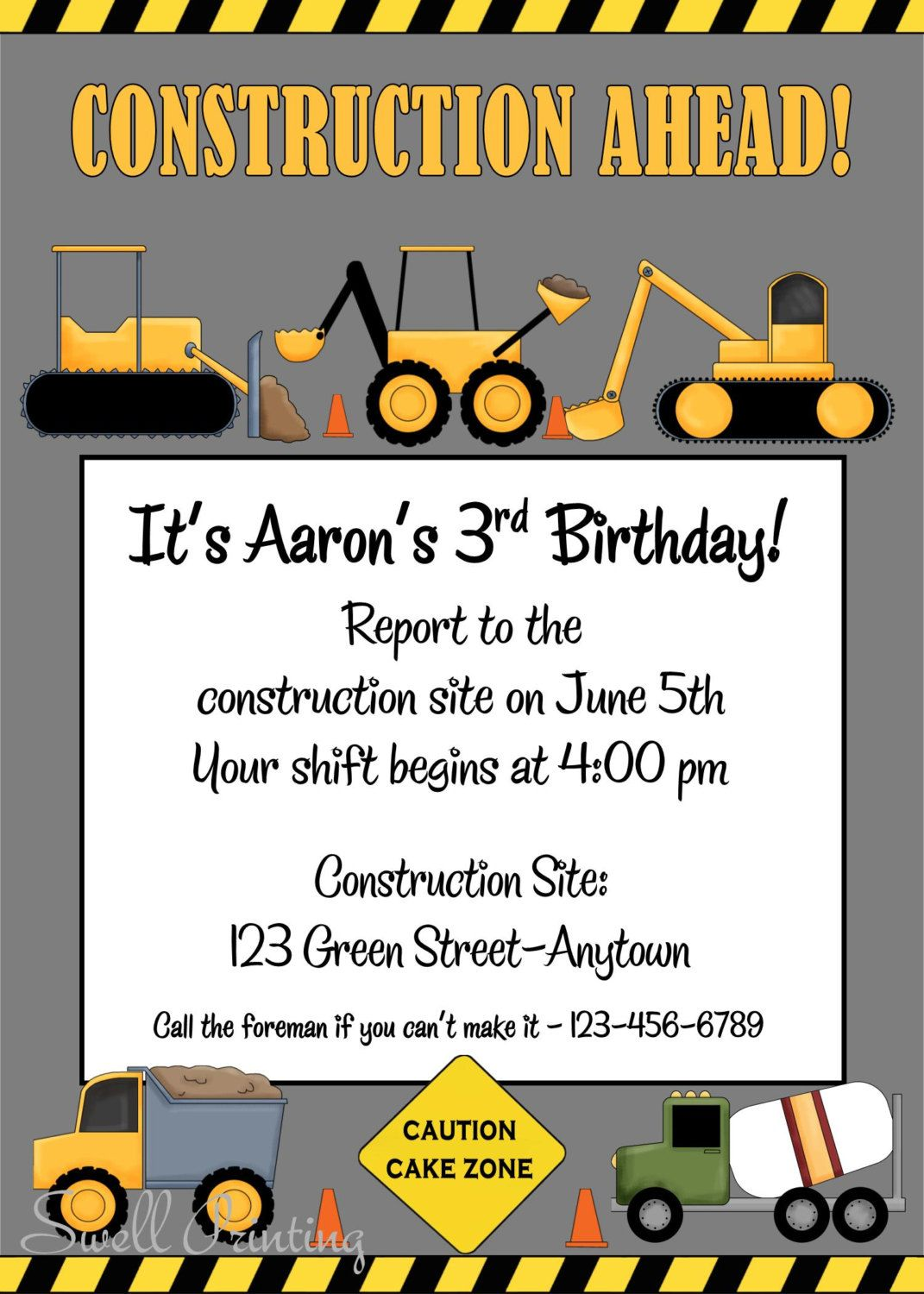 Printable Construction Birthday Invitation, Heavy Equipment Birthday ...