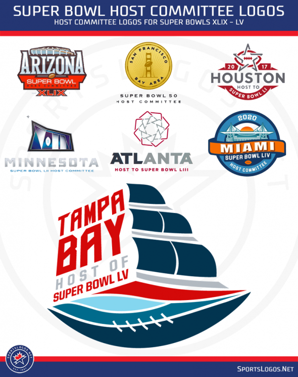 Studio Stories Tampa Bay Super Bowl Host Committee Logo Sails Into Prominence Chris Creamer S Sportslogos Ne Super Bowl Host Tampa Bay Super Bowl Super Bowl