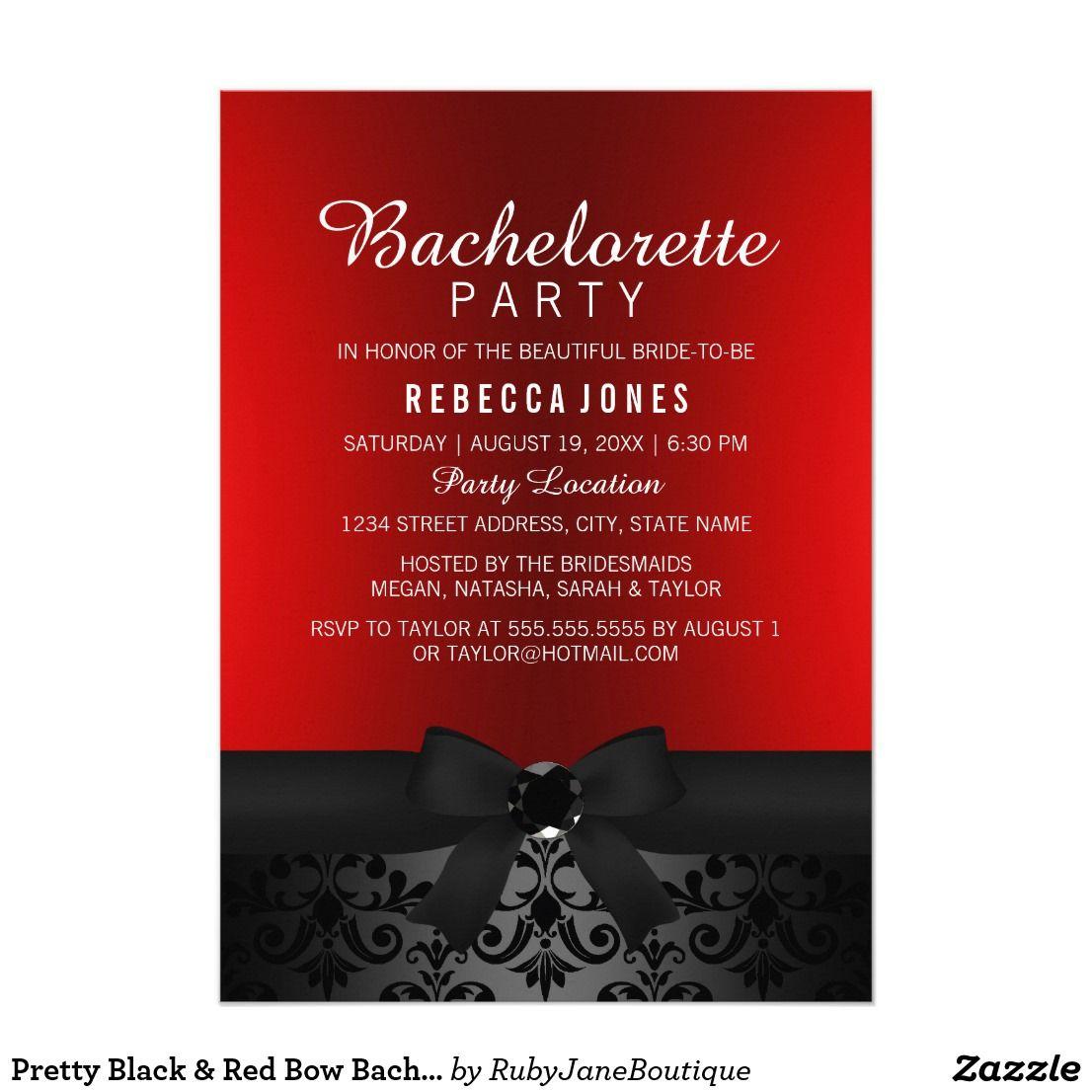 Pretty Black & Red Bow Bachelorette Party Invite | Pinterest ...