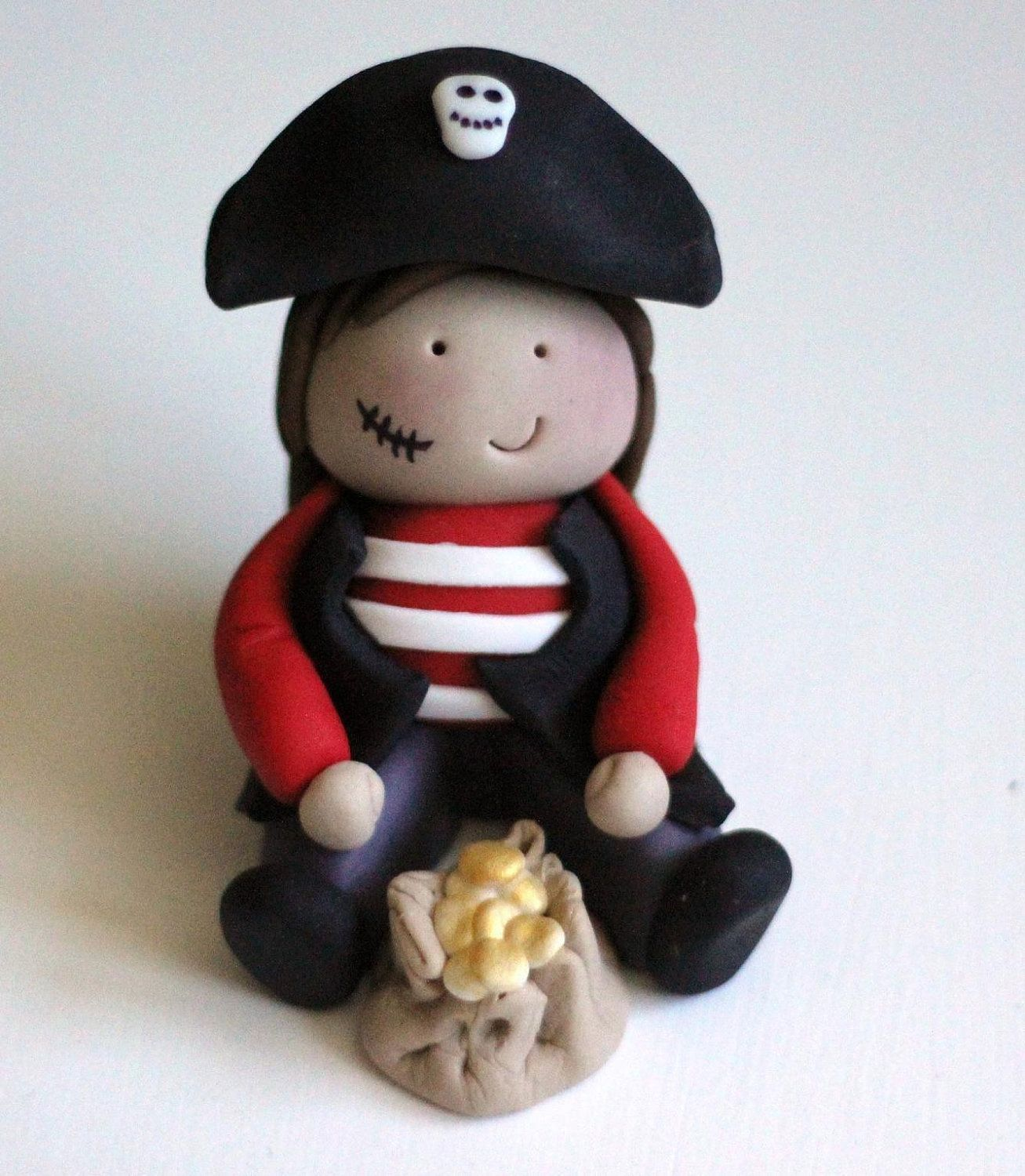 Cute Pirate Boy Fondant Cake Topper