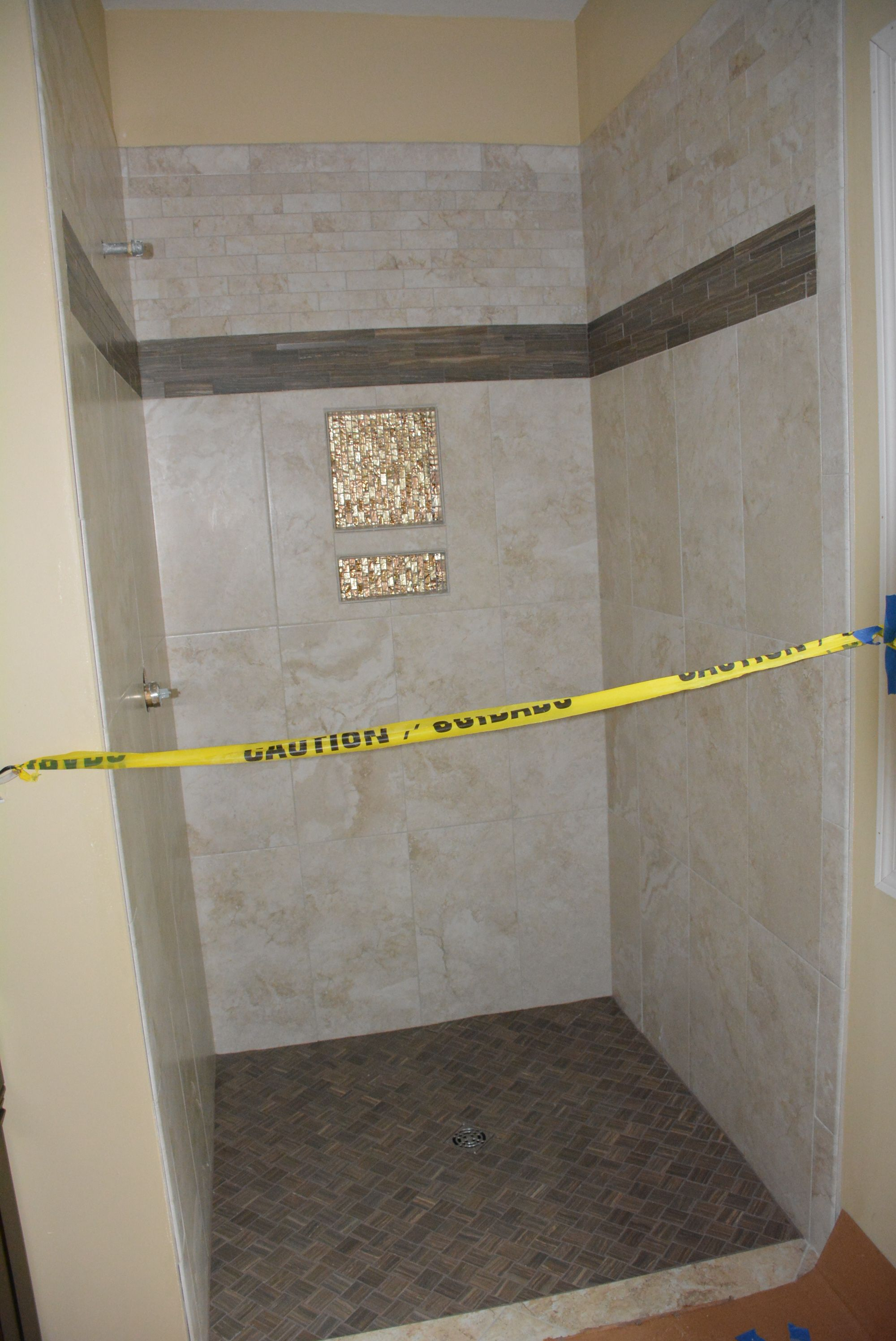 Actual Shower In Progress Anatolia Tile Using Ottomano Ivory Accented With Eramosa Natural And Some Gl Mosaic