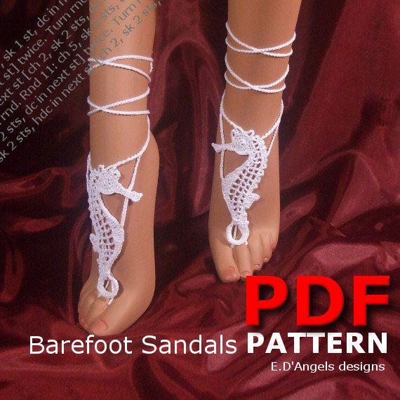 Barefoot Sandals Pattern SEAHORSE by LassCrochet on Etsy, $3.99