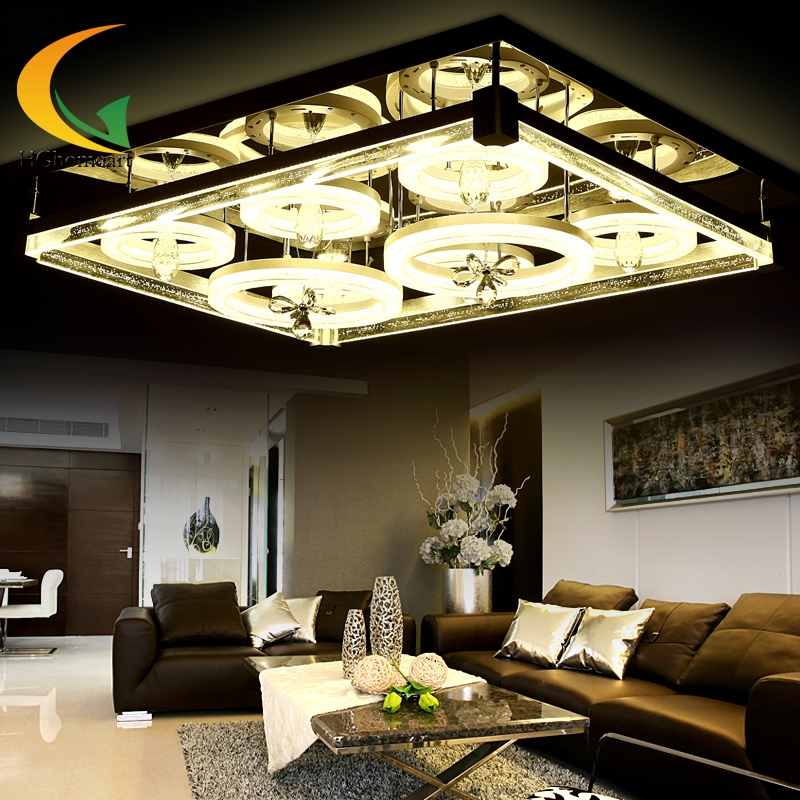 843.75$  Watch here - http://aliumu.worldwells.pw/go.php?t=32658938226 - Living room lighting rectangular atmosphere crystal lamp remote control LED ceiling lamp master bedroom lighting moder
