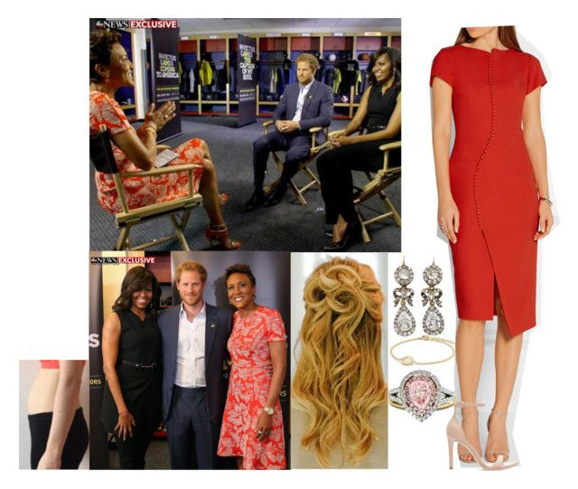 """Being interviewed by Robin Roberts of ABC with Harry and Michelle Obamas"" by duchess-rebecca ❤ liked on Polyvore featuring Baby-G, Antonio Berardi, David Yurman, Zara and Diana M. Jewels"