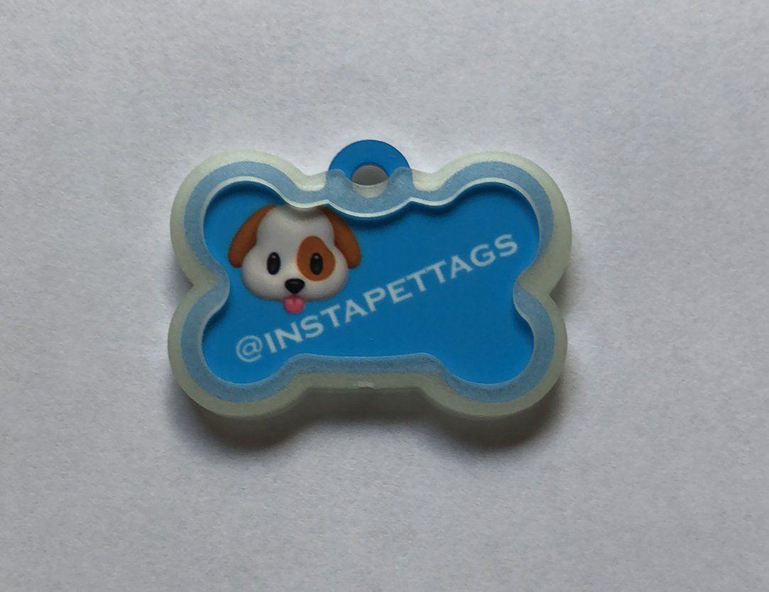 Udesignusa Custom Bone Shaped Pet Id Dog Tag Silencer Glows In The
