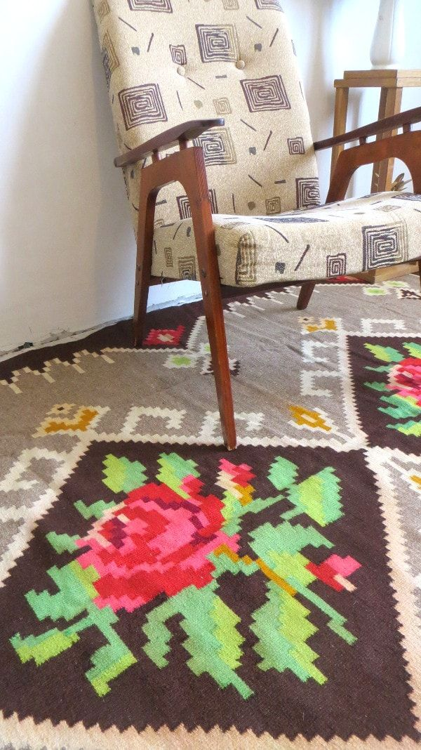 Kilim With Roses Kilim With Flowers Floral Area Rug Rozemkelim