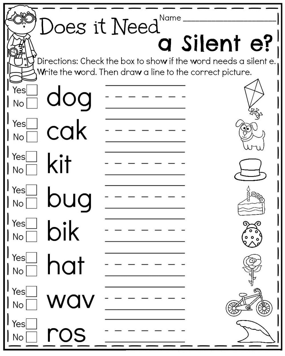 1st Grade Silent E Worksheets   K5 Worksheets   2nd grade worksheets [ 1250 x 1000 Pixel ]