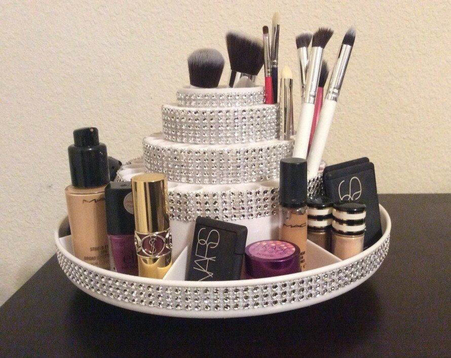 Rotating Makeup Brush Organizer with Storage for