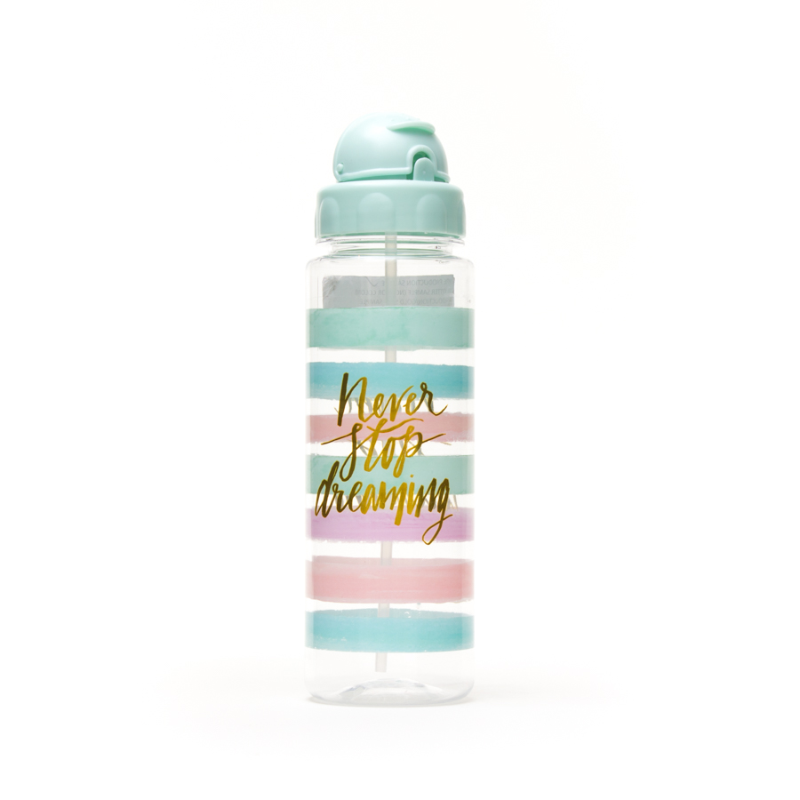 Never Stop Dreaming Water Bottle W Straw Bottle Water Bottle Water