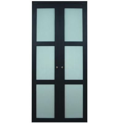 Truporte Doors 3100 Series 30 In X 80 In 3 Lite Frosted Glass Espresso Bi Fold Door 3100