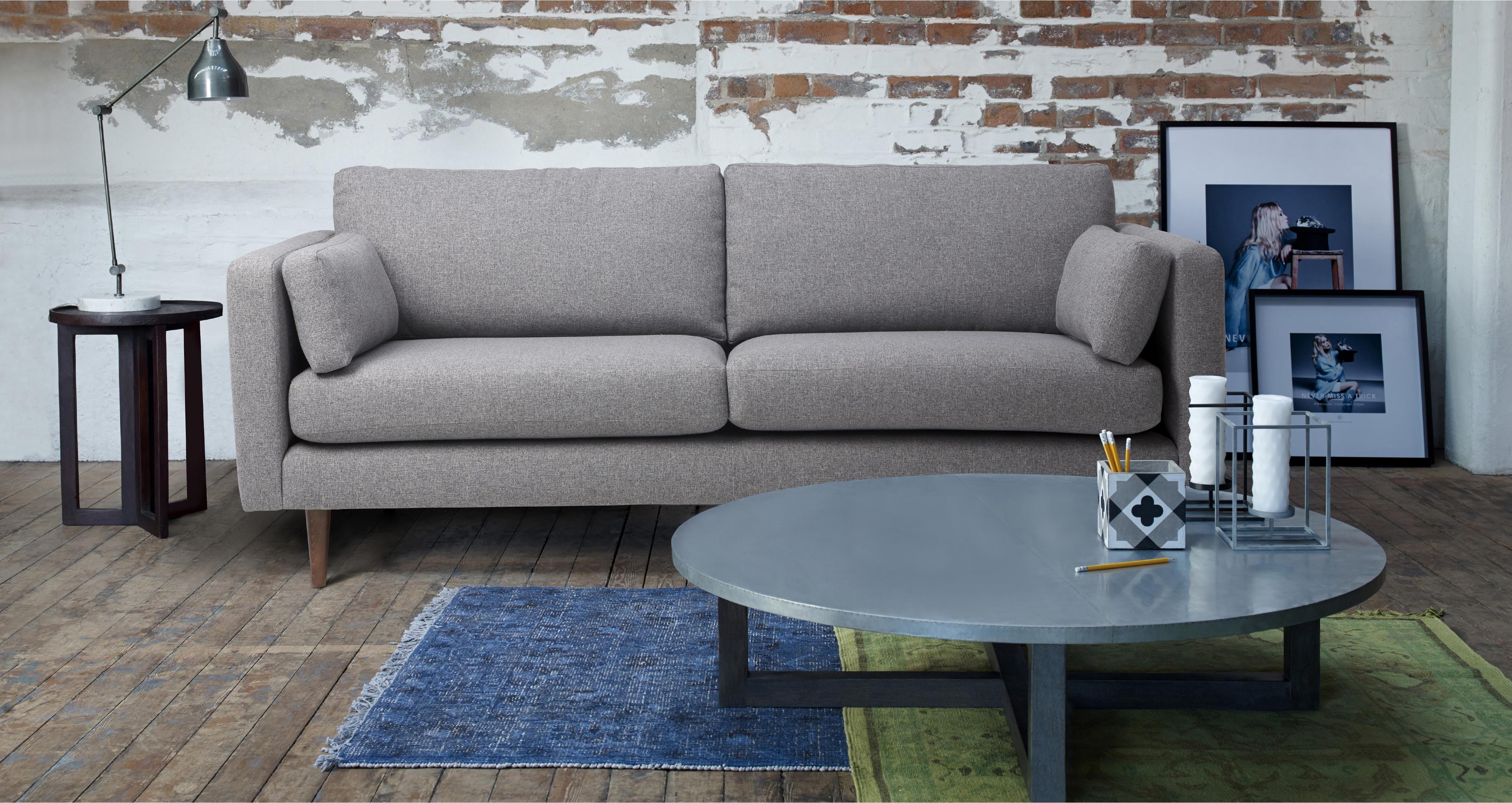 Marl Fabric 4 Seater Sofa Marl Plain Sofa Sale Sofa Furnishings