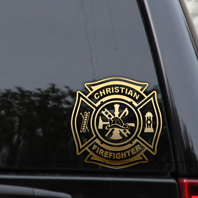 Firefighter Red Mustache Maltese Window Decal Various sizes Free Ship