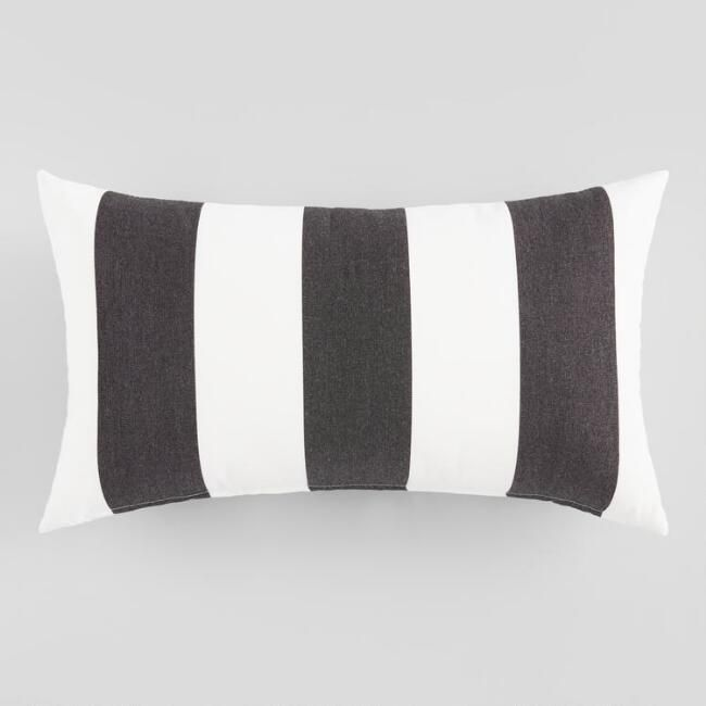 Sunbrella Cabana Stripe Outdoor Patio Lumbar Pillow Black