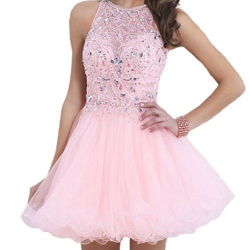 Cute short pink prom ball gown 2015 with crystal embellished bodice ...
