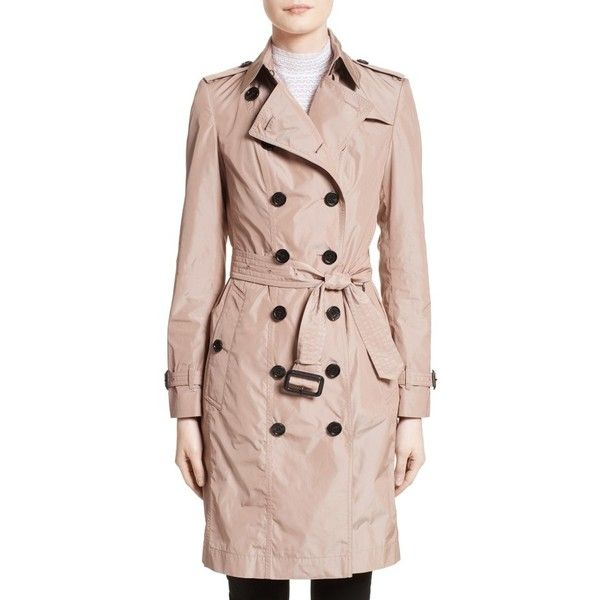 Women's Burberry Sandringham Long Slim Trench Coat (€1.475) ❤ liked on Polyvore featuring outerwear, coats, nude, pink double breasted coat, long coat, long trench coats, long pink coat and slim fit coat