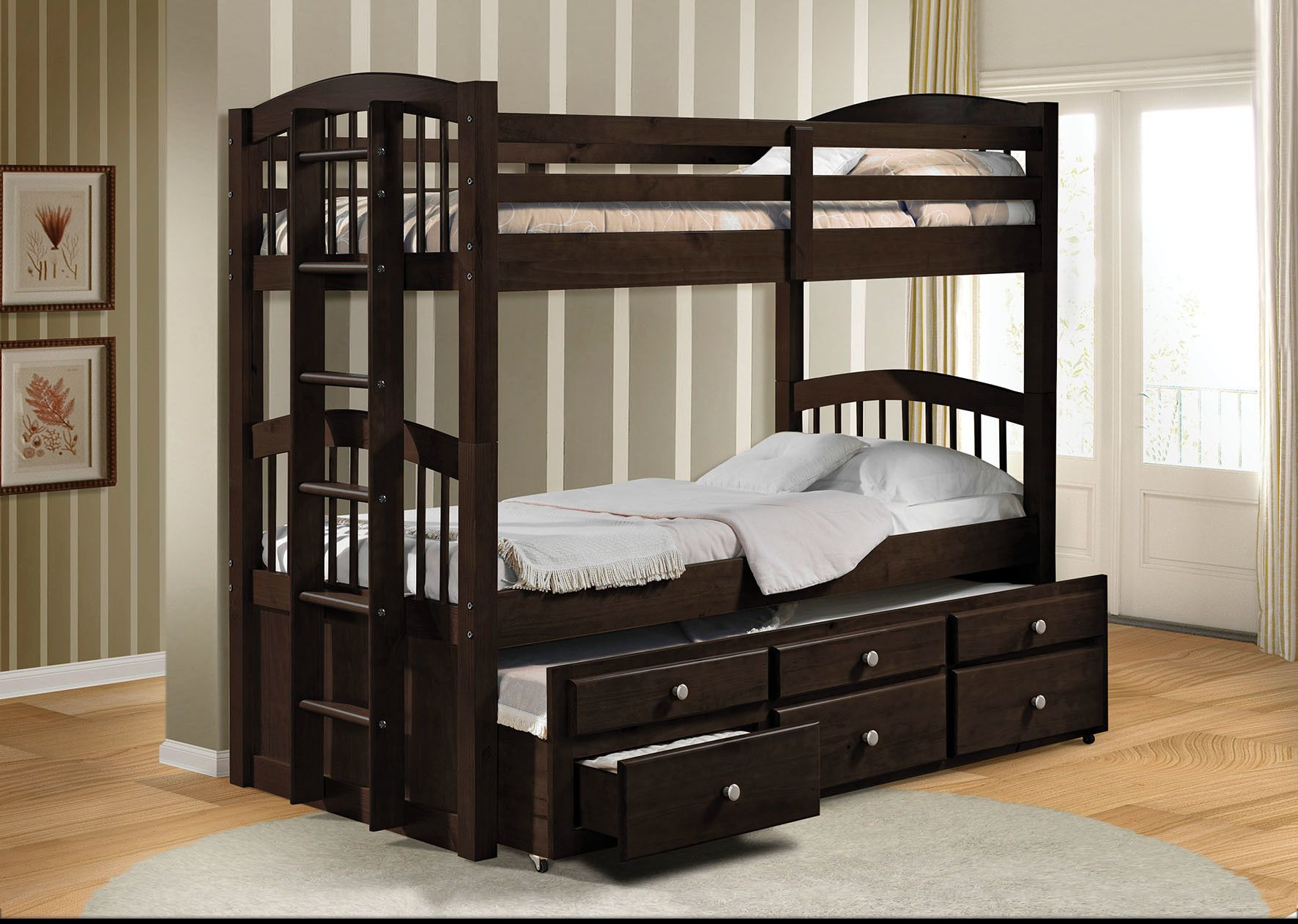 Micah Espresso Twin Bunk Bed with 3 Drawers (With images