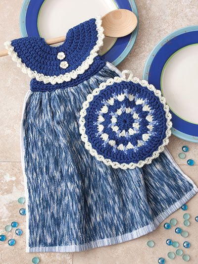 New Crochet Patterns - Dress Me Up Towel Toppers and Pot Holders ...