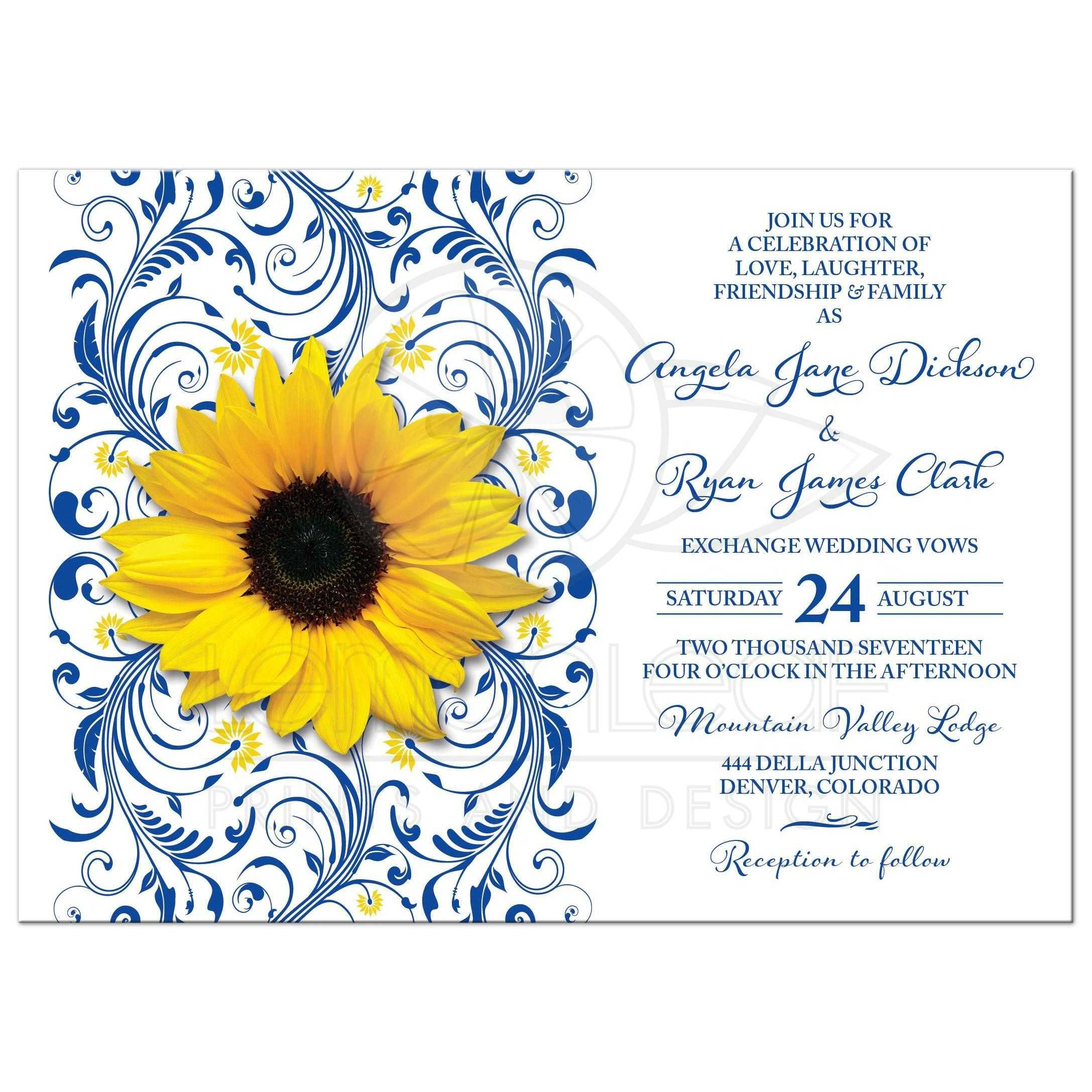 Royal Blue Sunflower Wedding Invitation Royal Blue and Yellow Floral ...