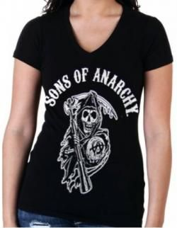 190fd3c7 Sons Of Anarchy Girls V-Neck T-Shirt - Arch Reaper | SOA | Sons of ...