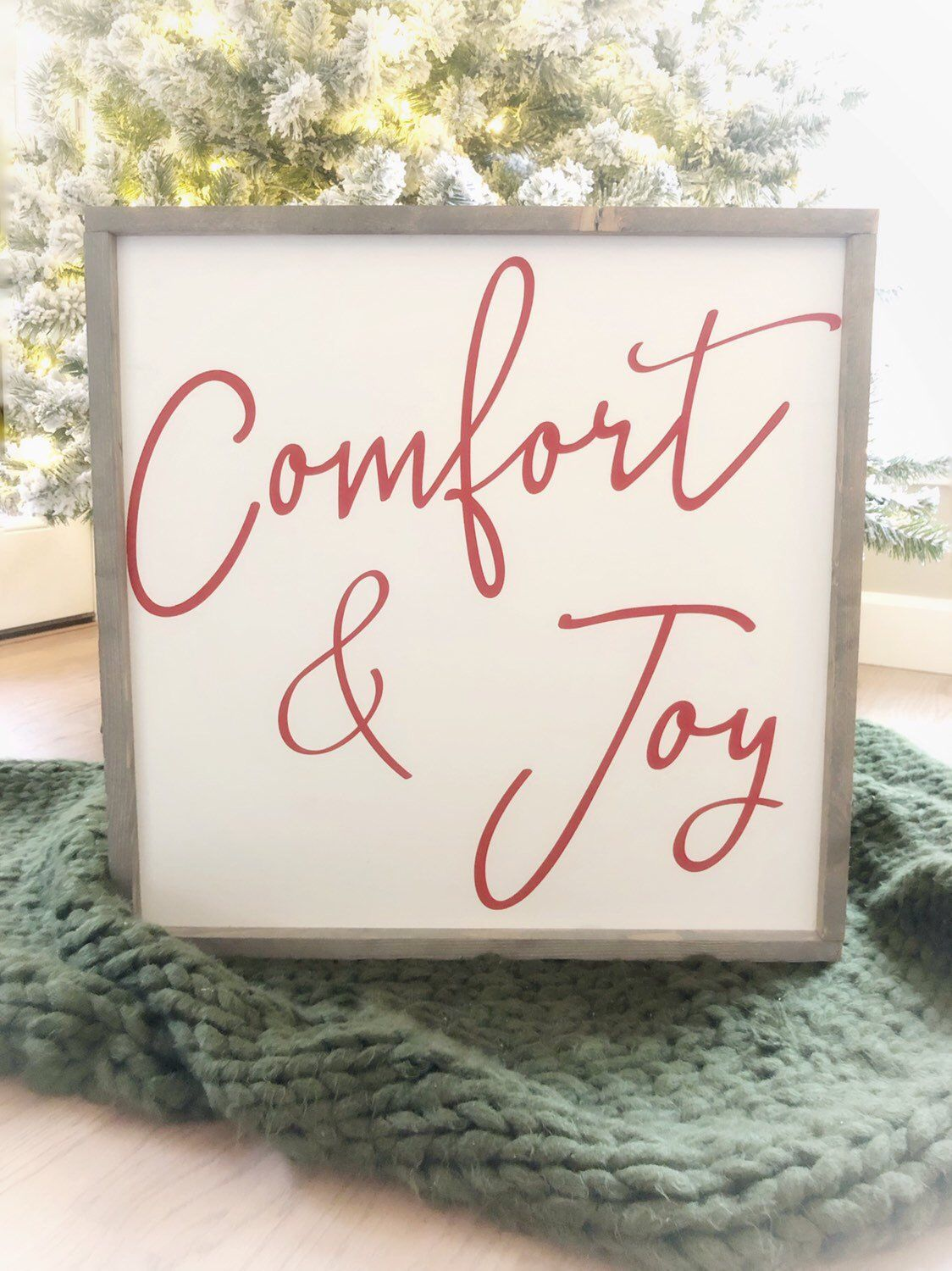 Large Comfort & Joy red and white farmhouse style rustic