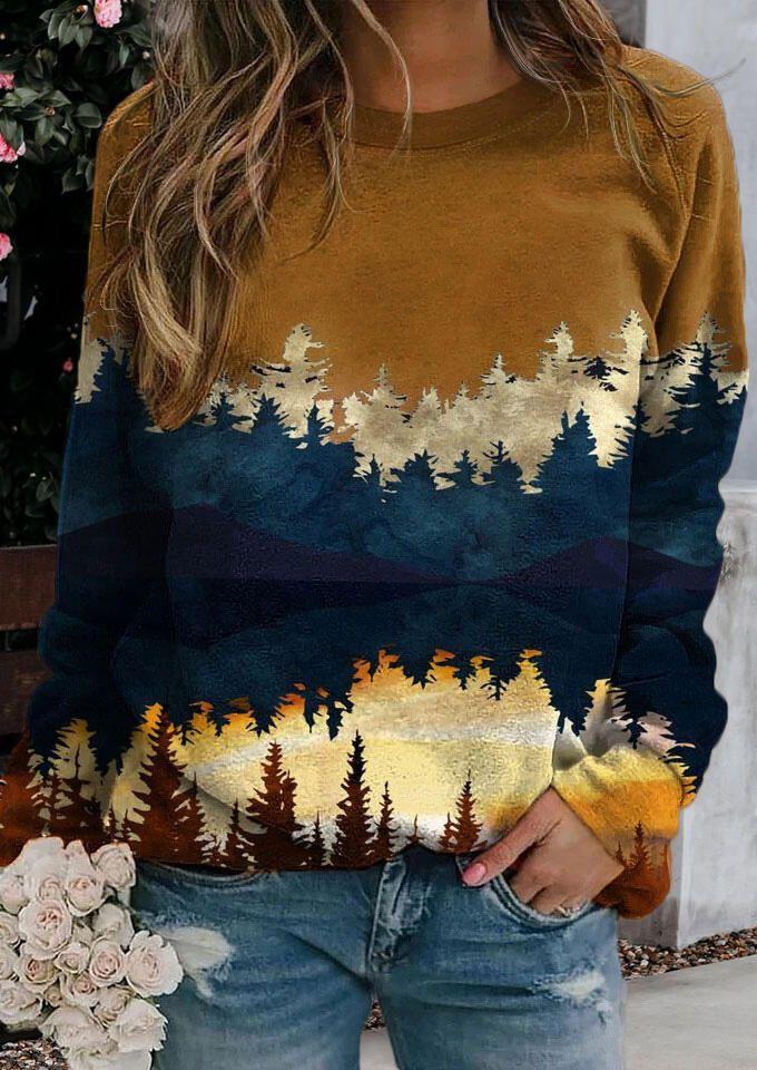 Color Block Plant Pullover Casual Sweatshirt