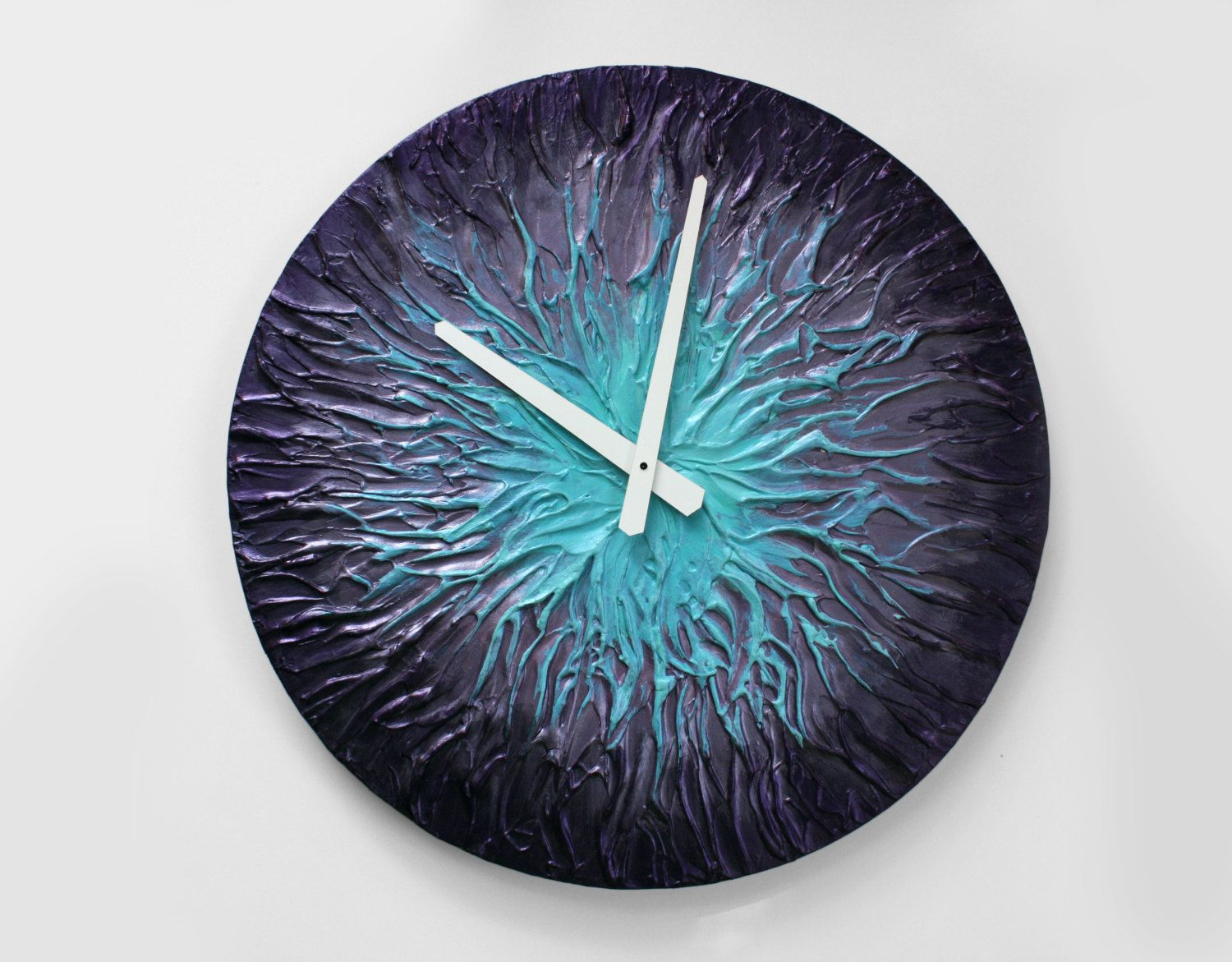Original painting large wall clock unique wall clock purple wall original painting large wall clock unique wall clock purple wall decor metallic purple turquoise home decor modern wall clock men cave amipublicfo Image collections