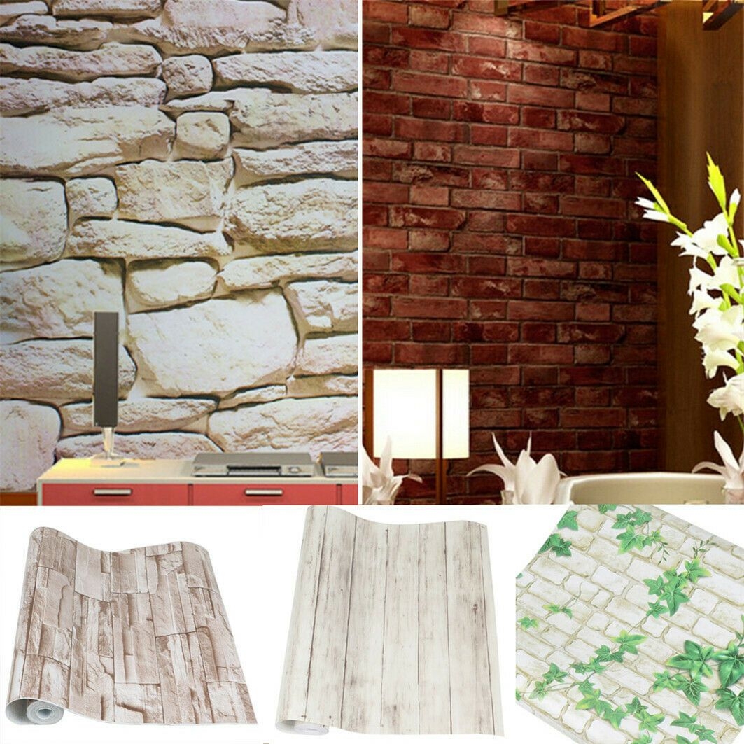 10M Vivid Brick Stone Wallpaper Wall Sticker Panel Peel